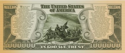 US Million Dollar Bill back